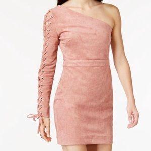 Endless Rose Suede One Shoulder Dress